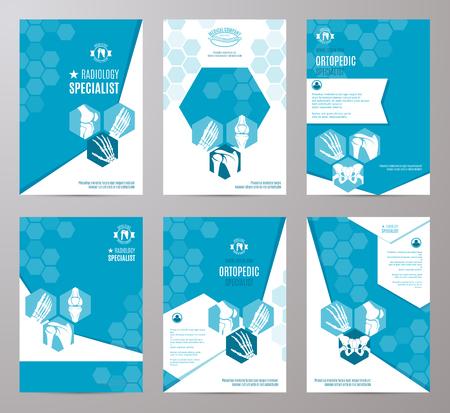 Ortopédico y especialista en la tarjeta de radiología clínica plantilla. bandera médica con la pierna, mano, pie, rodilla, hombro, pelvis articulaciones y los huesos en el fondo geométrico abstracto con diseño de texto Ilustración de vector