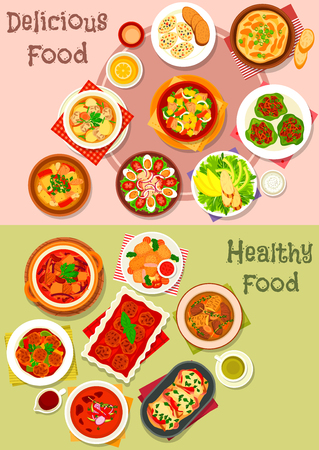 meatloaf: Meat dishes icon set of meat salad with vegetable, fruit and cheese, beef stew, meat soups and stews with vegetables, meatball and bean, baked pork and chicken meatloaf, battered fish, meatball