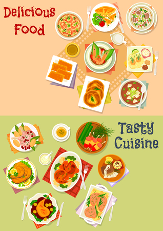 tofu: Fish and meat dish with asian soup and pastry icon set of meat and fish baked in sauce with vegetables, asian soup with rice, noodle, shrimp, tofu and beef, meat and cheese pie, sausage snack on stick Illustration