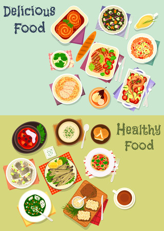 grilled vegetables: Tasty dinner icon set of salami pasta and grilled meat with pesto sauce, baked sausage and rabbit with vegetables, tuna risotto, lentil and herring salad, sponge cake, fish sandwich, rice soup Illustration
