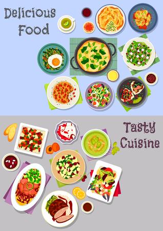 ensalada de frutas: icono de la comida sana conjunto con verduras y ensaladas de frutas con huevo, pato y cangrejo, carne al horno y fruta con queso, platos de arroz con pescado, cordero, verduras, sopa de pepino, huevo frito con los chiles, verduras pastel