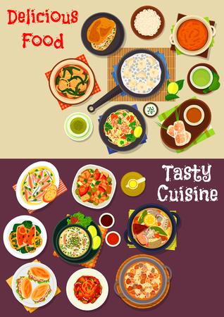 ensalada de frutas: platos de mariscos conjunto de iconos de pescado, carne y espinacas sopas, mariscos arroz, fideos rollo de primavera, camarones y ensalada, panqueque de arroz, menestra de verduras con atún, sándwich de pescado, curry de calabaza, pescado frito con limón
