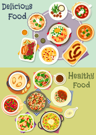 savory: Tasty snacks icon set of noodles with mushroom and beef, fish vegetable and meat stews, sausages with cabbage salad, fried egg and cheese, shrimp pasta salad, cheese fondue, chicken soup, savory pies