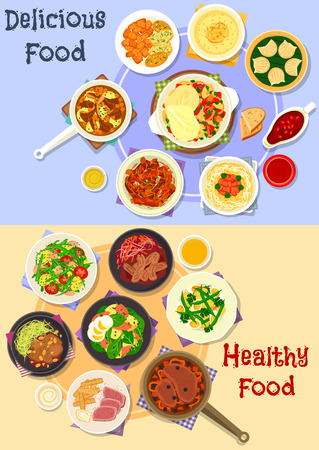 baked potatoes: Tasty dishes for dinner icon set of baked and stewed meat dishes with vegetables and sauces, pork noodle, potato salads with fish, egg and veggies, shrimp dumplings and custard cream dessert