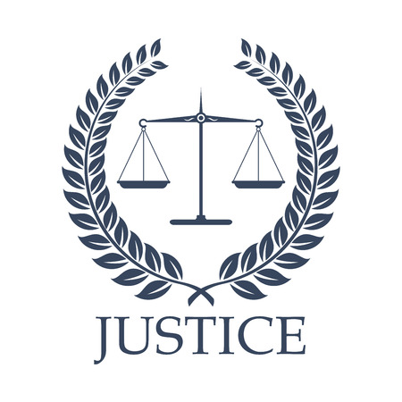 Legal or law icon with symbols. Illustration