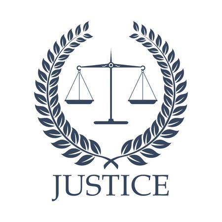 Icono legal o ley con símbolos. Ilustración de vector