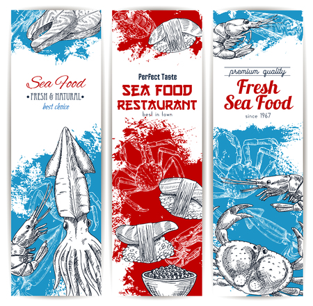 grilled: Seafood banners set of fish and fishery catch food. Illustration