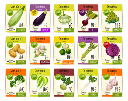 beetroot: Veggies, vegetables price cards labels. Vector tags set of zucchini squash and patisony, eggplant, beet and romanesco broccoli, potato and champignon, brussels sprouts and asparagus, scotch kale and chinese cabbage, kohlrabi, daikon radish and garlic
