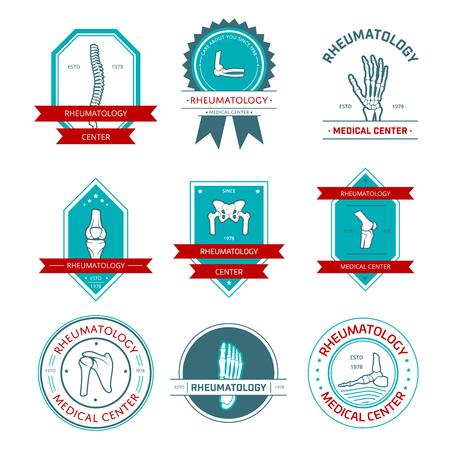 rheumatology: Rheumatology and orthopedics medical center badge set.