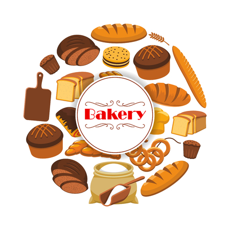 braided: Bakery or baker shop poster with bread. Vector design for premium pastry