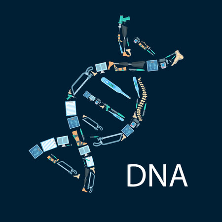 Orthopedy and orthopedics surgery poster in shape of DNA symbol. Orthopedic items and medical tools of human spine, foot and leg limb prosthesis, surgeon drill, hammer and bone saw, thermometer and scales, x-ray radiograph, tonometer or pulsometer Illustration