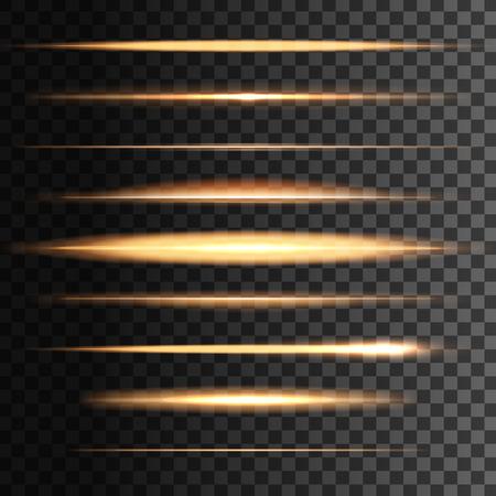 빛나는 황금 빛 벡터 플래시 및 추상 조명 선 또는 줄무늬. 광선 줄무늬 효과. 옐로우 골드 네온 조명 태양 또는 별 광선, 버스트 및 반짝임. 투명 배경에 수평 선형 광선의 집합