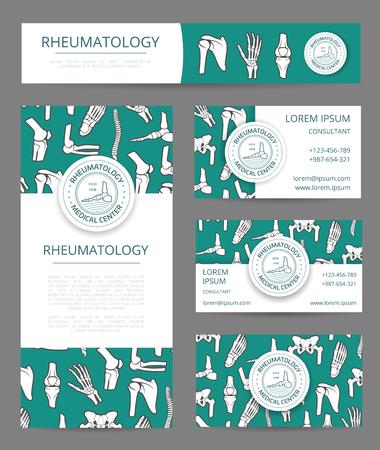 rheumatology: Rheumatology medical center banner, flyer and card template with human skeleton bones.
