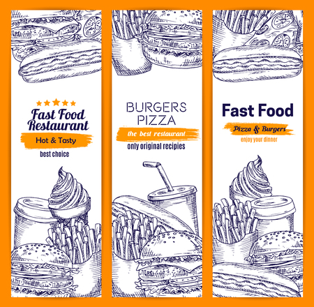 fast meal: Burgers and sandwiches fast food banners set of sketched fastfood hamburger and cheeseburger burger with french fries and pizza, hot dog sandwich meal snacks, coffee and soda drink, ice cream dessert. Vector design for restaurant delivery, takeaway