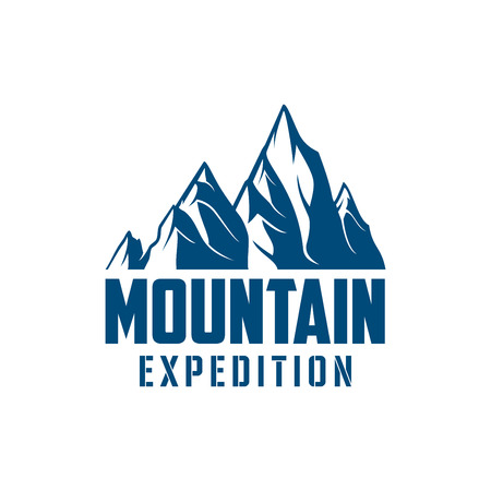 Climbing expedition or mountaineering sport icon or vector emblem with Alp rocks and snowy peaks. Illustration