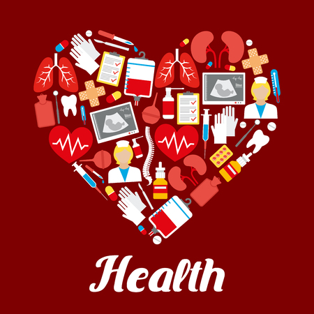 a substance vial: Heart poster or vector medicines and medical items.