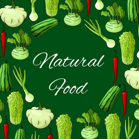 napa: Vector natural fresh vegetables and farm fresh organic ripe harvest. Illustration