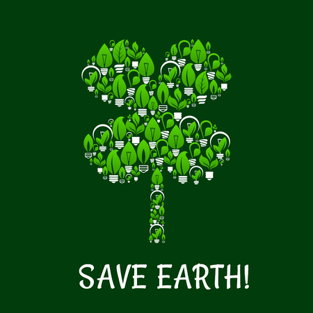 energy symbol: Ecology and green energy vector with clover leaf symbol.