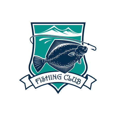Fishing icon of flounder fish, fish-rod with bait, float and catch on hook. Illustration