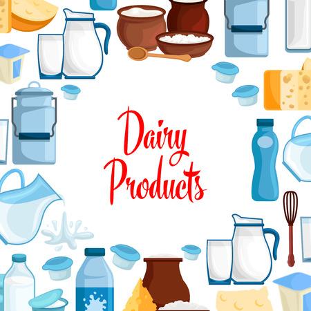 Melk en zuivelproducten vectoraffiche van melkachtig voedsel en dranken.