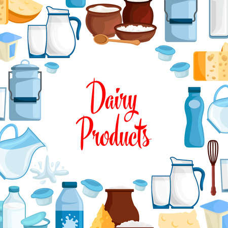 Milk and dairy products vector poster of milky food and drinks.