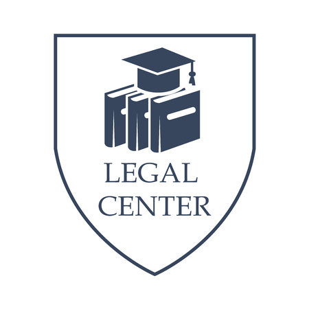 Advocacy and legal center vector icon with symbols of law code books and judge or juror hat. Juridical shield sign or emblem for court advocate or prosecutor attorney office, counsel or lawyer and notary company