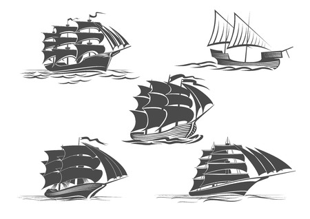 Sailing ship or frigate warship vector isolated icons set. Navy or maritime transport symbol of yacht with mast and sails, ironclad sailboat or pirate boat float drifting on sea waves