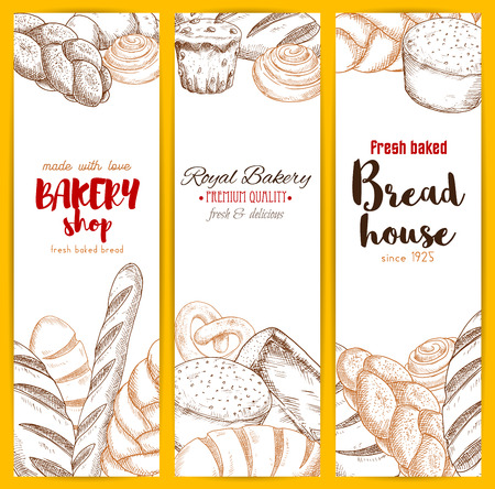 long loaf: Bread house banners of sketched wheat rye brick and braided bagel, pretzel, long loaf and cinnamon roll bun, muffin dessert and wheat toast bread, chocolate cupcake, sweet pie or cake and croissant. Vector design set for bakery shop, patisserie menu Illustration