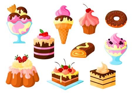 パイやお菓子、デザートはフルーツ ケーキとチョコレート艶出し、アイスクリーム、タルト、ドーナツ、シナモン ロール パン、プリン クリーム フォンダンショコラとの分離のアイコンをベクトルします。パン屋さん、菓子、パティスリー、製菓用分離セット