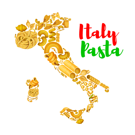 Italy map with pasta.