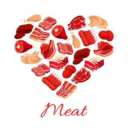 Cartel de la carne fresca. Diseño de carnicería y carnicería Foto de archivo - 71348878