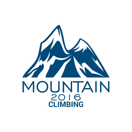 Climbing sport or mountain alpine icon or vector emblem with Alp rocks and snowy peaks. Illustration