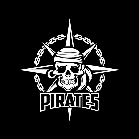 skull and crossed bones: Black pirates flag of vector sailor or captain skeleton skull with earring and kerchief or bandana, ship chain and compass. Illustration