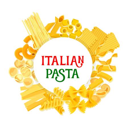 italian food: Pasta vector poster of Italy traditional food cuisine or restaurant menu