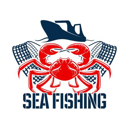 Icono de vector de pesca con cangrejo de mariscos Ilustración de vector