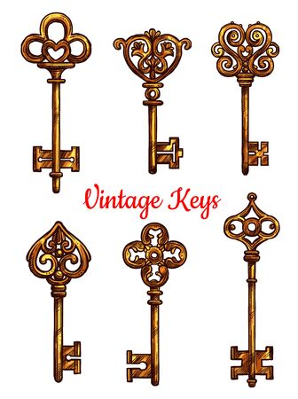 latchkey: Old or vintage keys icons.