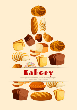 Bread vector poster. Cutting board design for bakery, baker shop or patisserie Ilustração