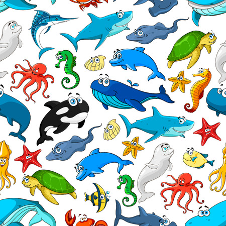 oceanarium: Cartoon fishes and sea or ocean animals vector seamless pattern of smiling.