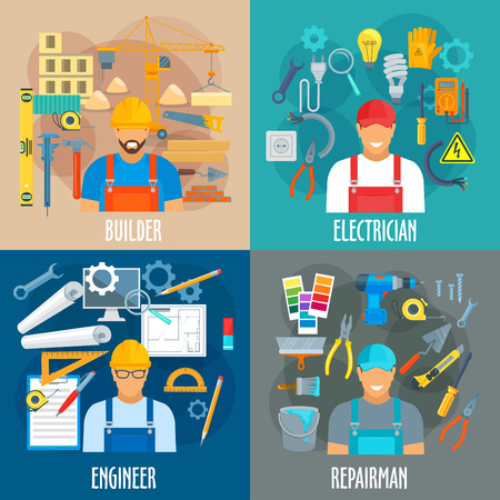 Builder, electrician, engineer and repairman professions vector posters. Çizim