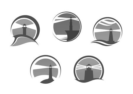 coast: Lighthouse icons. Nautical or marine beacon on cliff rock vector isolated emblems set.