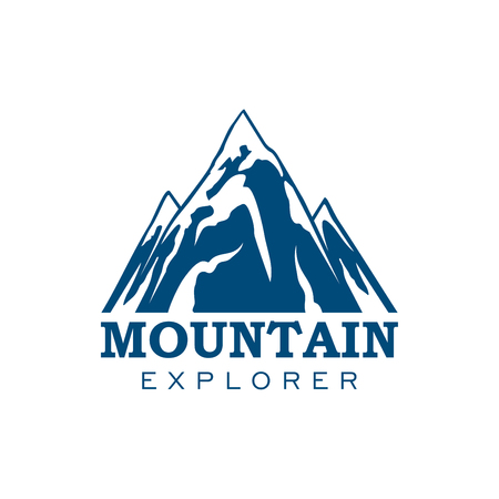 Alpine mountain or rock icon. Vector emblem of blue Alp snow peaks.