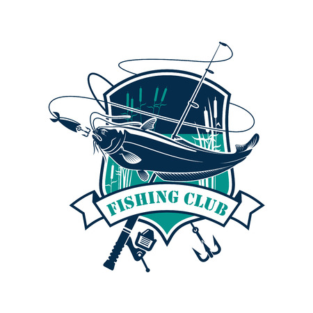 Fishing icon or fisher club vector. Badge with lake and ribbon for fishery industry and fisherman adventure sport.