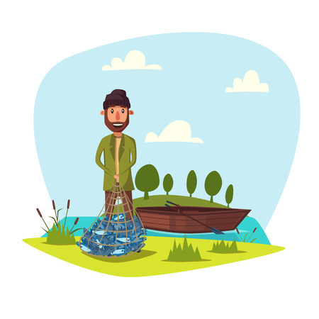 Man on fishing with full net of big fish catch. Happy fisherman with fishing rod and wooden boat at lake or river. Fishery outdoor weekend adventure weekend adventure. Vector happy fisher with beard smiling Illustration