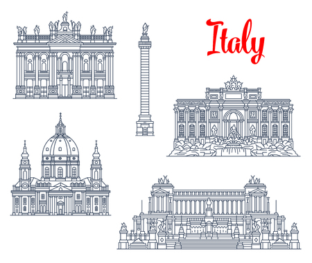 Italy famous architecture symbols and sightseeing buildings.