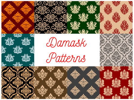 ornaments floral: Floral Damask patterns. Vector seamless set of flowery tracery and flourish ornate adornment of royal luxury ornamental flowers and vintage baroque motif ornaments for interior decor design tiles and backdrops