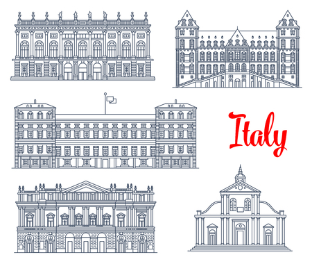 reale: Italian architecture symbols and famous sightseeing buildings.