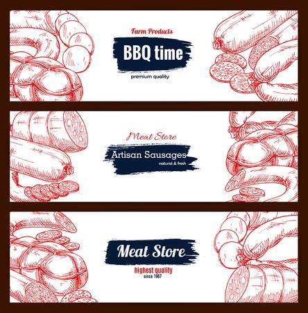 Salchichas y carne de barbacoa delicatessen vector banners de boceto. Foto de archivo - 71570527
