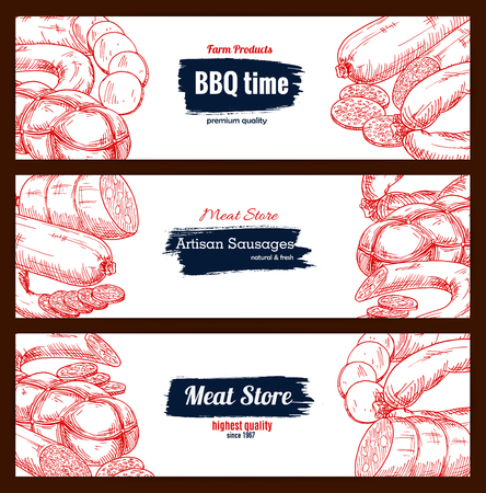 Sausages and barbecue meat delicatessen vector sketch banners. Illustration