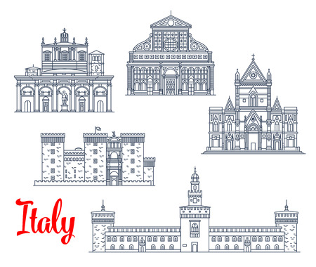 Italian historic architecture symbols and famous sightseeing buildings. Illustration