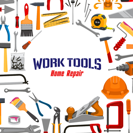 building safety: Repair, carpentry, building and home fix work tools vector poster of instruments tape measure ruler, safety helmet, electric drill and saw, spanner wrench and screwdriver, plaster trowel and paint brush roll, plane, mallet or hammer and pliers